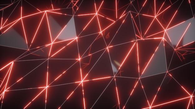 Abstrakter bewegungshintergrund. low-poly dunkle wellenfläche mit leuchtend rotem licht. 3d-illustration
