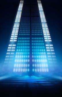 Abstrakter blauer dunkler neonhintergrund mit linien und scheinwerfern, neonblaues licht, nachtansicht