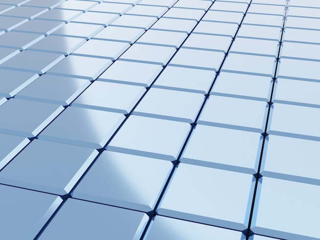 Abstrakter blauer hintergrund mit mosaikwürfeln und lichteffekt