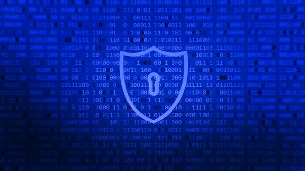 Abstrakter blauer schildethik- und datenschutztechnologiehintergrund. antivirus-, datenschutz- und cybersicherheitskonzept. schild mit schlüsselloch-symbol auf digitalen daten.
