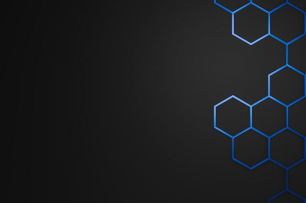 Abstrakter blauer sechseckmusterrahmen auf dunklem hintergrund mit futuristischem konzept.