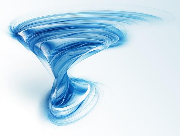 Abstrakter blauer tornado auf hellem hintergrund