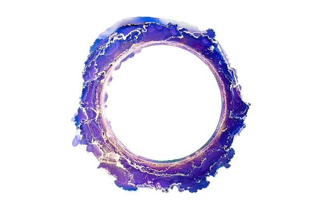 Abstrakter blauer und goldener aquarellkreis alter rahmentintenpinselstriche lokalisiert auf weiß