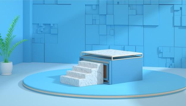 Abstrakter bühnenhintergrund des 3d-renderings mit marmorpodest für modellanzeige