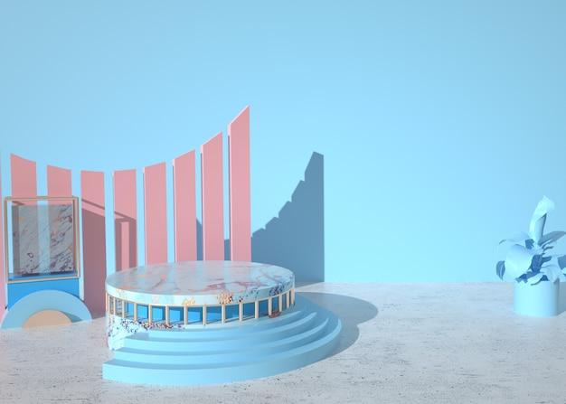 Abstrakter bühnenhintergrund des 3d-renderings mit podium für produktanzeige
