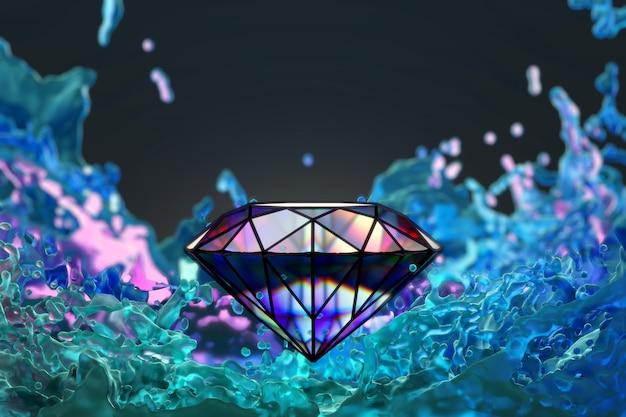 Abstrakter bunter diamant mit buntem flüssigkeitsspritzer, 3d-wiedergabe