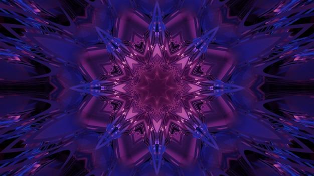 Abstrakter bunter hintergrund der abstrakten 3d-illustration mit glänzendem geometrischem kaleidoskopischem muster in neonkristallform, das eine optische täuschung des fantastischen sci-fi-raumportals erzeugt