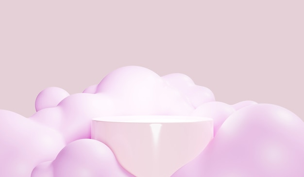 Abstrakter bunter pastellhintergrund mit zylinderpodest, geometrie stehen für kinder oder babyprodukte. 3d-rendering.