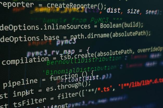 Abstrakter computerskriptcode. programmiercode-bildschirm des softwareentwicklers. arbeitszeit für softwareprogrammierung. codetext, der vollständig von mir geschrieben und erstellt wurde.