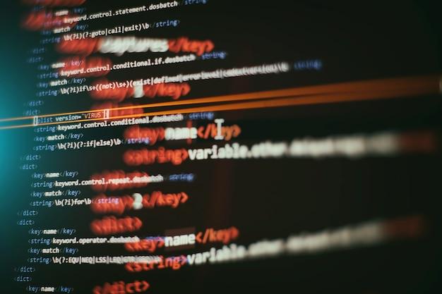 Abstrakter computerskriptcode. programmiercode-bildschirm des softwareentwicklers. arbeitszeit für softwareprogrammierung.