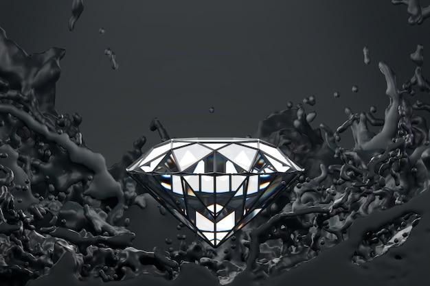 Abstrakter diamant mit schwarzem flüssigkeitsspritzer, 3d-wiedergabe