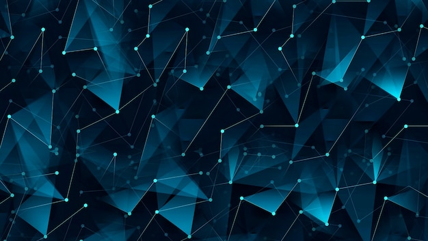 Abstrakter digitaler hintergrund, der punkte und linien verbindet. informationstechnologie-datenraster auf einem dunklen
