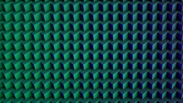Abstrakter digitaler hintergrund verrückt von 3d-würfeln. grün und blau. 3d-rendering.