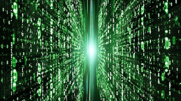 Abstrakter digitaler matrixpartikelfluß, digital-datenverbindung, technologiekonzept.
