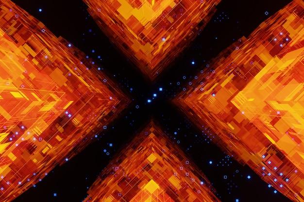 Abstrakter digitaler sci-fi-glühender cyberspace orange würfeltunnelhintergrund