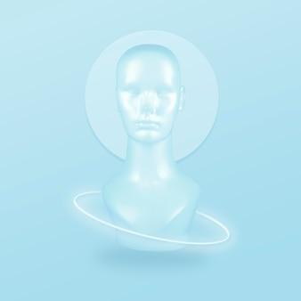 Abstrakter dummy-kopf mit einem weißen neonring auf einem blau