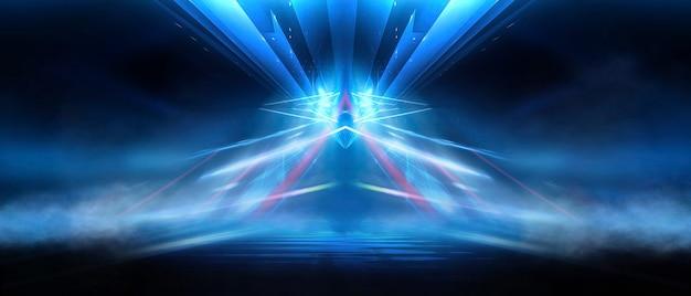 Abstrakter dunkler futuristischer hintergrund blaue neonlichtstrahlen reflektieren vom wasser
