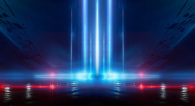 Abstrakter dunkler futuristischer hintergrund blaue neonlichtstrahlen reflektieren vom wasser Premium Fotos