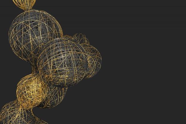 Abstrakter dunkler hintergrund mit dem bild der teilung der kugeln gesponnen von einer vielzahl der hellen farbigen gewinde. abbildung 3d