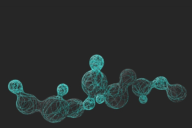 Abstrakter dunkler hintergrund mit dem bild des teilens von kugeln, die aus einer vielzahl von bunten fäden gewebt werden. 3d-illustration