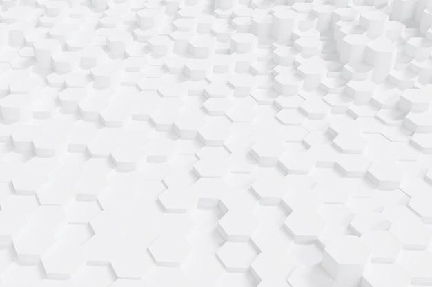 Abstrakter einfacher weißer sechseckhintergrund, 3d-rendering.