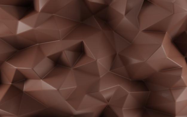 Abstrakter facettierter dreieckiger geometrischer schokoladenhintergrund. 3d-rendering