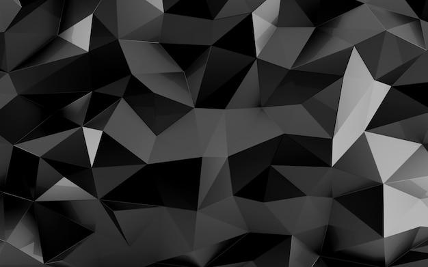 Abstrakter facettierter dreieckiger geometrischer schwarzer hintergrund. zeitgenössisches muster für die innenarchitektur. 3d-rendering