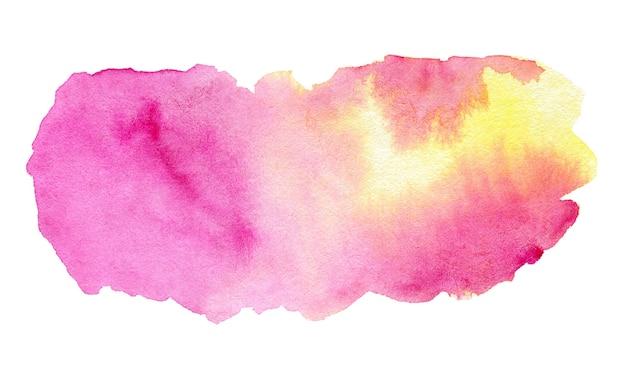 Abstrakter farbverlauf rosa und gelb aquarell spritzer auf weißem hintergrund
