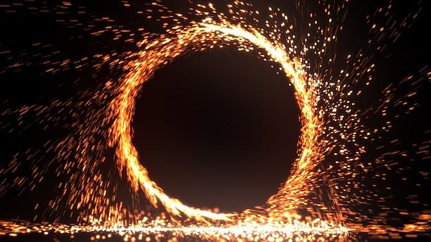 Abstrakter feuerring der feuerflamme feuerwerk brennt. funkenfeuer-kreismuster oder kaltes feuer oder feuerwerk im schwarzen hintergrund. 3d-illustration