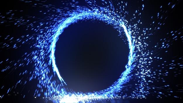 Abstrakter feuerring des feuerwerks der blauen flamme, das brennt. funkenfeuer-kreismuster oder kaltes feuer oder feuerwerk im schwarzen hintergrund. 3d-illustration