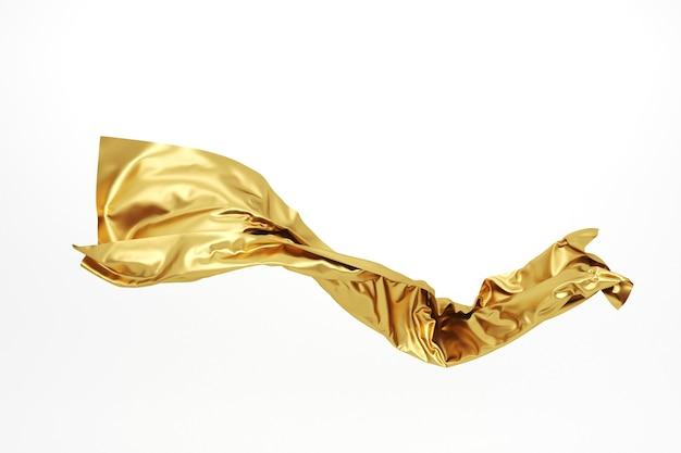 Abstrakter fliegender goldener stoff. gewelltes goldtuch. 3d-rendering.