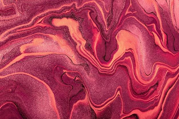 Abstrakter flüssiger kunsthintergrund dunkle lila und rote farben. acrylmalerei auf leinwand mit weinlinien und farbverlauf.