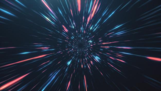 Abstrakter flug im retro-neon-hyper-warp-raum in der tunnel-3d-illustration
