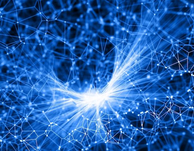 Abstrakter fractalhintergrund 3d mit verbindungslinien und punkten
