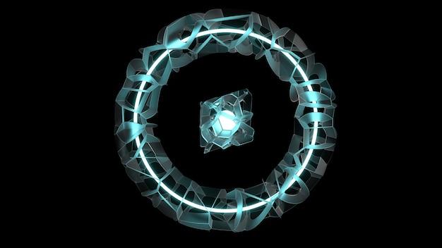 Abstrakter fraktaler leuchtender matter ring 3d