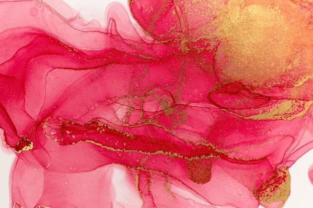 Abstrakter frühlingsrosa pfingstrosenhintergrund. rosa und goldenes aquarellmuster.