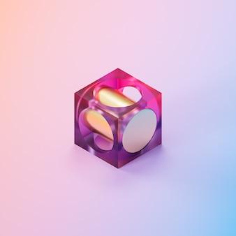 Abstrakter futuristischer glaswürfel mit goldenem zylinder auf farbverlaufshintergrund, minimaler 3d-rendering