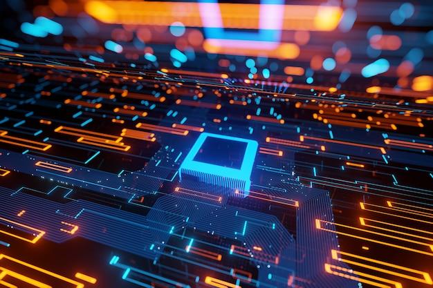 Abstrakter futuristischer mikrochip-datenfluss in einem 3d-rendering des leuchtenden hellen hintergrunds des motherboards