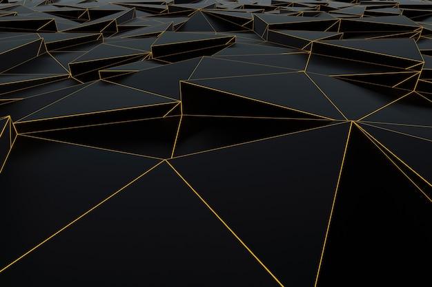 Abstrakter futuristischer niedriger polyhintergrund von schwarzen dreiecken mit einem leuchtenden goldgitter. minimalistisches schwarz-3d-rendering.