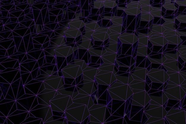 Abstrakter futuristischer niedriger polyhintergrund von schwarzen sechsecken mit einem leuchtenden lila gitter. minimalistisches schwarz-3d-rendering.