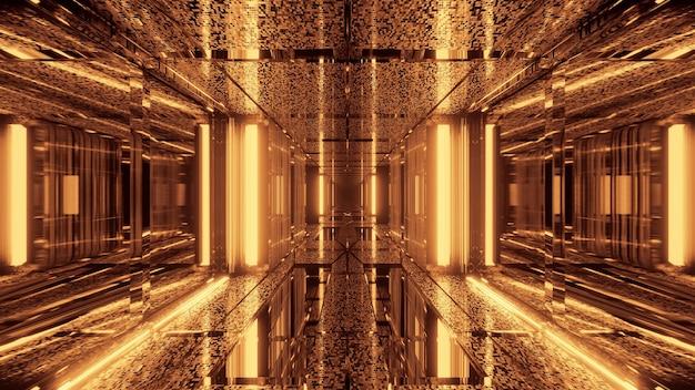 Abstrakter futuristischer science-fiction-hintergrund mit goldenen neonlichtern