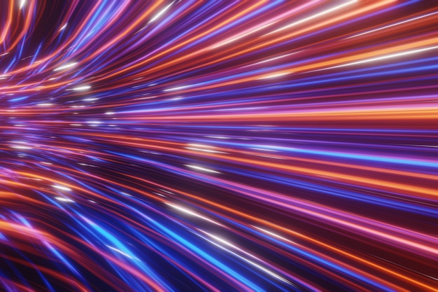 Abstrakter futuristischer strom digitale daten neongeschwindigkeitsbewegung leuchtende lichtspuren tunnelhintergrund 3d-rendering Premium Fotos