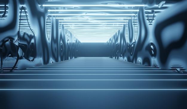 Abstrakter futuristischer technologiehintergrund mit blauem neon