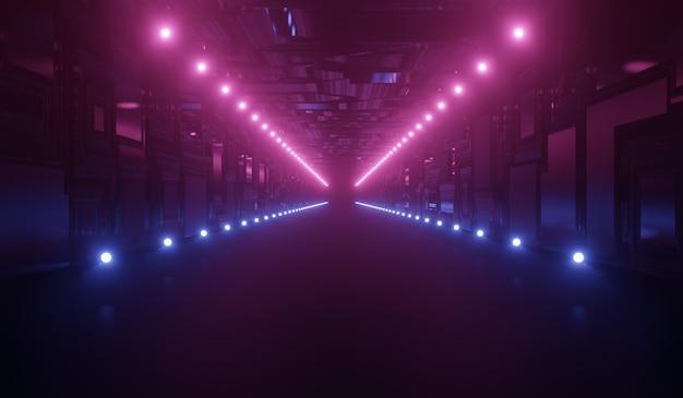 Abstrakter futuristischer technologiehintergrund mit blauem und rosa neon