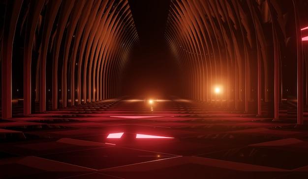 Abstrakter futuristischer technologiehintergrund mit rotem neon