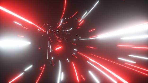 Abstrakter futuristischer tunnel mit neonlichtern