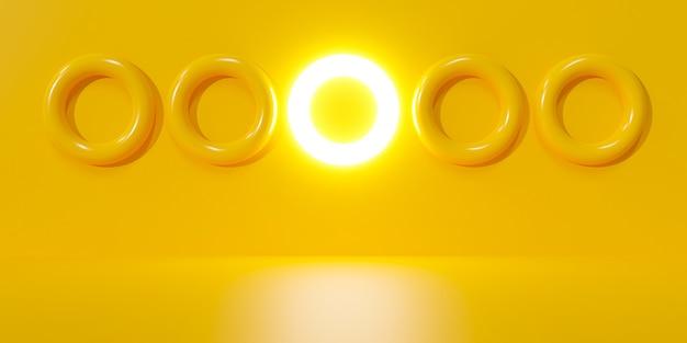 Abstrakter gelber hintergrund. 3d-darstellung von weißer glühbirne.