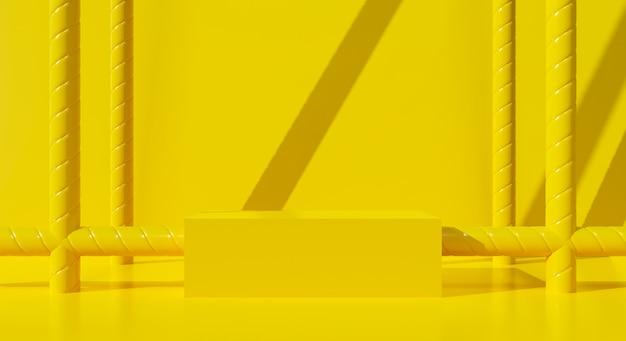 Abstrakter gelber hintergrund. 3d-rendering für leere bühnenpodest, podest, display-produkt im studio.