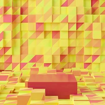 Abstrakter gelber hintergrund mit geometrischem formpodium. wiedergabe 3d für produkt.