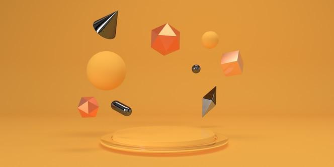 Abstrakter gelber studiohintergrund mit podium- und geometriefiguren für produkt